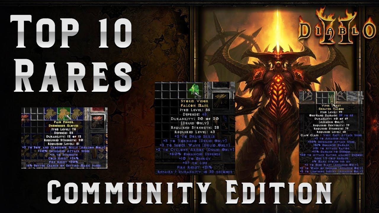 Top 10 Solo Self found Rare Items - Discord Community Edition!! - Diablo 2