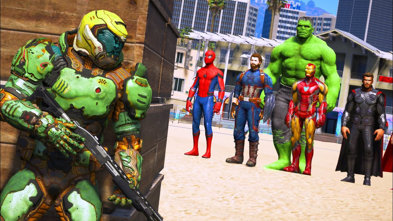 GTA 5 - Beach Battle - The Avengers VS Doomguy - Superheroes VS Devil Hunter