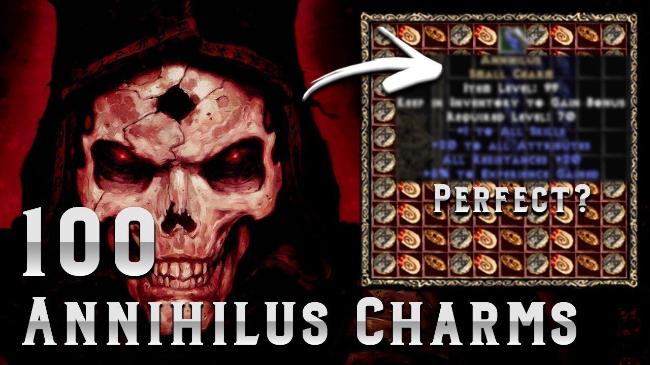 100 Unidentified Annihilus Charms - Diablo 2 - Perfect 20/20/10 roll?